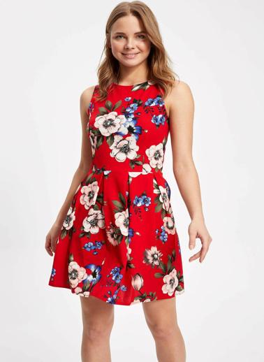 DeFacto Çiçek Desenli Kolsuz Mini Elbise Kırmızı